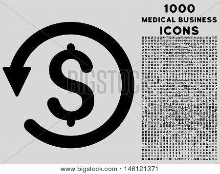 Chargeback raster icon with 1000 medical business icons. Set style is flat pictograms, black color, light gray background.