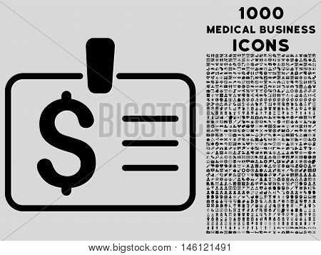Dollar Badge raster icon with 1000 medical business icons. Set style is flat pictograms, black color, light gray background.
