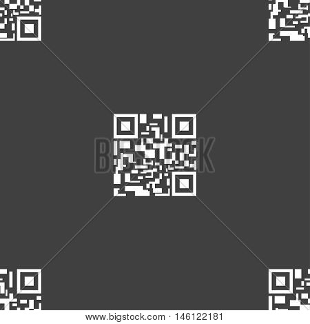 Barcode Icon Sign. Seamless Pattern On A Gray Background. Vector