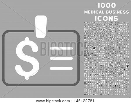 Dollar Badge raster bicolor icon with 1000 medical business icons. Set style is flat pictograms, dark gray and white colors, silver background.