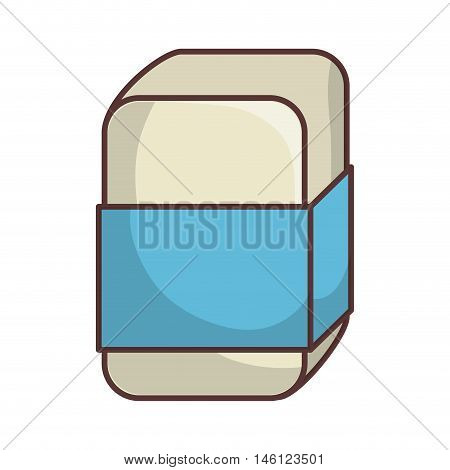eraser with blue label. stationery school tool. vector illustration