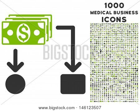 Cashflow raster bicolor icon with 1000 medical business icons. Set style is flat pictograms, eco green and gray colors, white background.