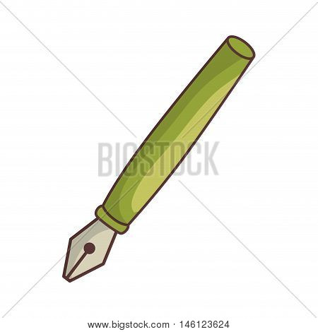 green fountain ink pen luxury stylograph object. vector illustration