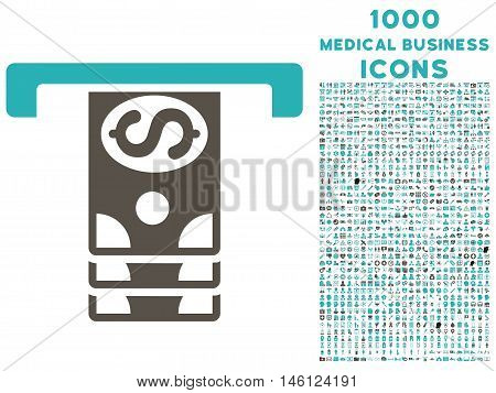 Banknotes Withdraw raster bicolor icon with 1000 medical business icons. Set style is flat pictograms, grey and cyan colors, white background.
