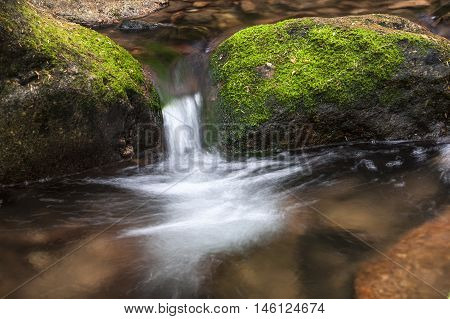 Small cascade in stream called Beauty Creek at the east end of Coeur d'Alene Lake in Idaho.