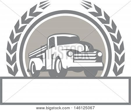 Illustration of a vintage pick up truck set inside circle with stylized wheat wreath done in retro style.