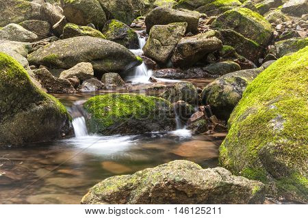 Small mountain stream with mossy rocks called Beauty Creek at the east end of Coeur d'Alene Lake in Idaho.