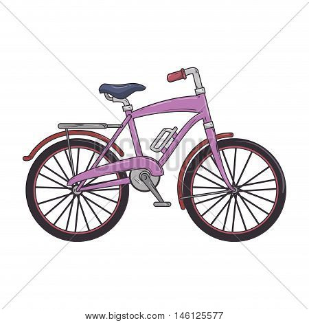 purple classic bicycle transport vehicle. healthy ride activity. vector illustration