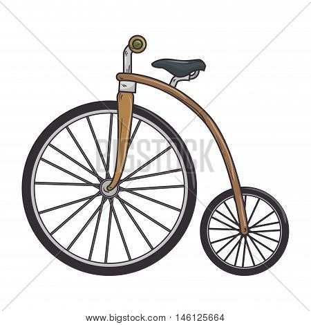 brown classic bicycle transport vehicle. healthy ride activity. vector illustration