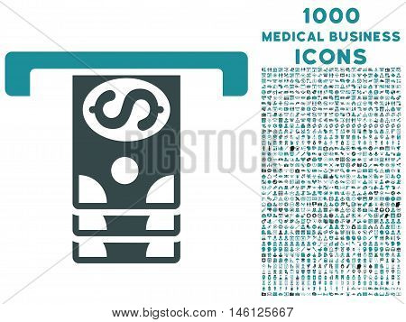 Banknotes Withdraw raster bicolor icon with 1000 medical business icons. Set style is flat pictograms, soft blue colors, white background.