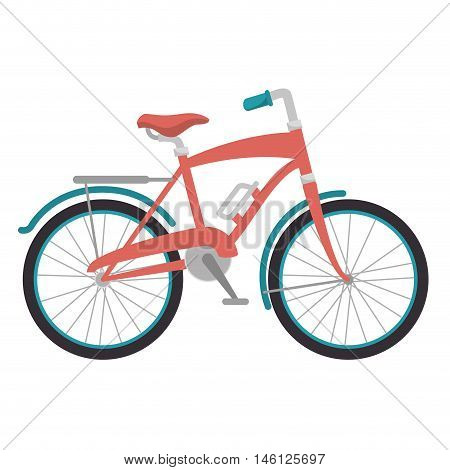 pink classic bicycle transport vehicle. healthy ride activity. vector illustration