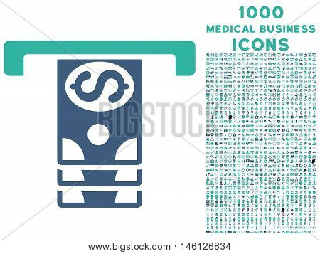 Banknotes Withdraw raster bicolor icon with 1000 medical business icons. Set style is flat pictograms, cobalt and cyan colors, white background.