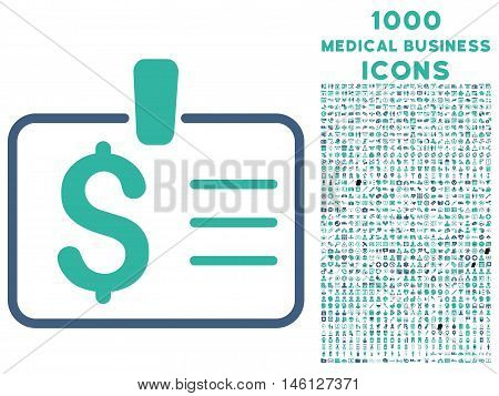 Dollar Badge raster bicolor icon with 1000 medical business icons. Set style is flat pictograms, cobalt and cyan colors, white background.
