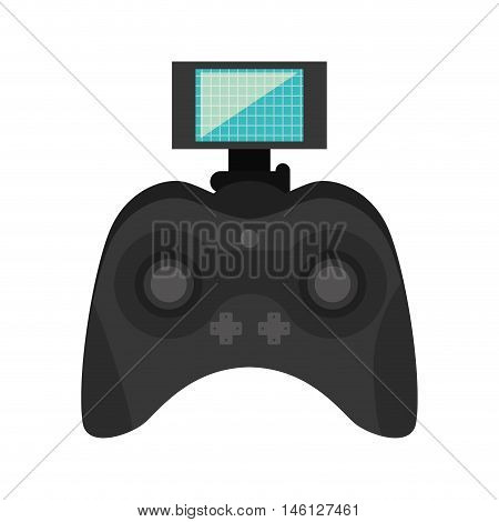 game portable control with joystick navigation buttons and screen. vector illustration