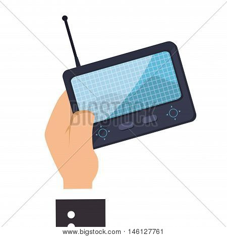 hand holding a game portable control with digital screen and antenna. vector illustration
