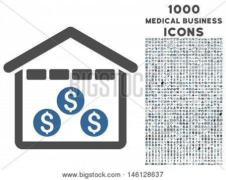 Money Depository raster bicolor icon with 1000 medical business icons. Set style is flat pictograms, cobalt and gray colors, white background.
