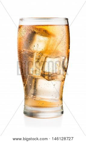 Glass of Guarana soft drink with ice cubes and condensation isolated on white background with real shadow and clipping path