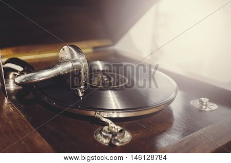 Old Vintage Wooden Vinyl Player With Needle