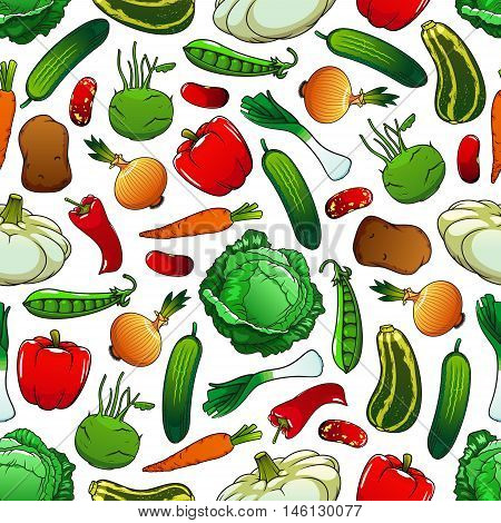 Pattern of fresh vegetables on white background with seamless pepper, onion, cabbage, carrot, bean, potato, cucumber, green pea, zucchini, leek, kohlrabi and pattypan squash vegetables