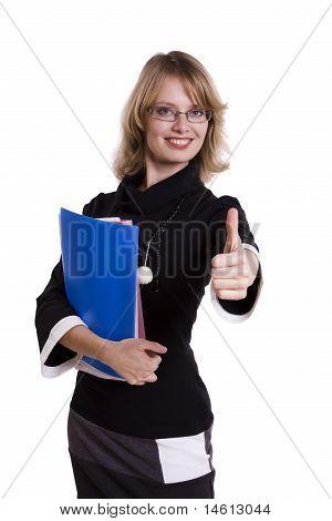 Business-Frau zeigt alle ok Zeichen
