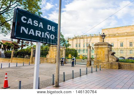 BOGOTA, COLOMBIA - FEBRUARY 9, 2015: House of Narino, official home and principal workplace of the President of Colombia
