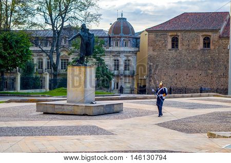 BOGOTA, COLOMBIA - FEBRUARY 9, 2015: Ayacucho Battle Monnument, cultural landmark located outside the official Presidential residence in Bogota, Colombia