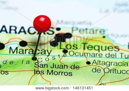 San Juan de los Morros pinned on a map of Venezuela