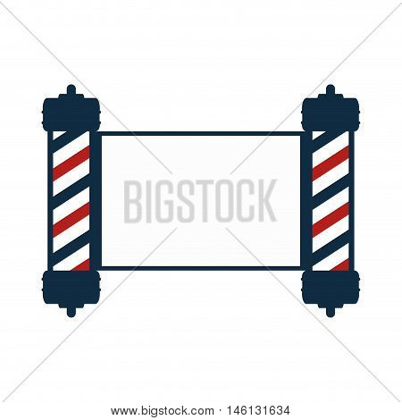 red and blue striped classic barber shop pole with banner. vector illustration