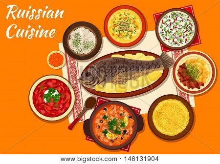 Russian cuisine thin pancake icon served with red caviar, meat dumplings, baked fish, sour soup with olives, beet soup borscht, cold vegetable soup, beef stroganoff and fish soup