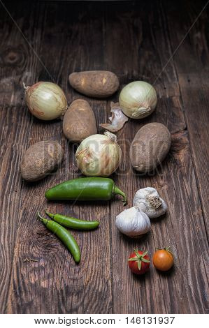 Vegetables commonly used in cooking. An assortment of vegetables commonly used in cooking.