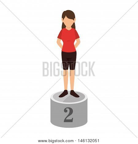avatar woman on championship pedestal  podium position second place. vector illustration