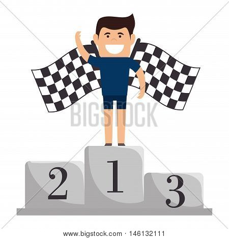 avatar man on championship pedestal podium position first place. checkered flags.  vector illustration