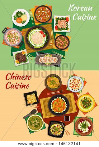 Chinese and korean cuisine icon with seafood and spicy vegetable salads, grilled beef, shrimp noodles, vegetable, seafood and tofu soups, fried pork and prawns, stuffed squid, cinnamon dumplings