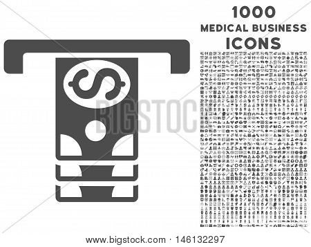 Banknotes Withdraw raster icon with 1000 medical business icons. Set style is flat pictograms, gray color, white background.