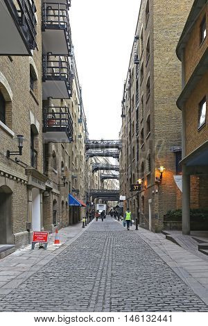 LONDON UNITED KINGDOM - JANUARY 25: Bridges Between Buildings at Buttlers Wharf in London on JANUARY 25 2013. Bridges Over Shad Thames Street at Southwark in London United Kingdom.