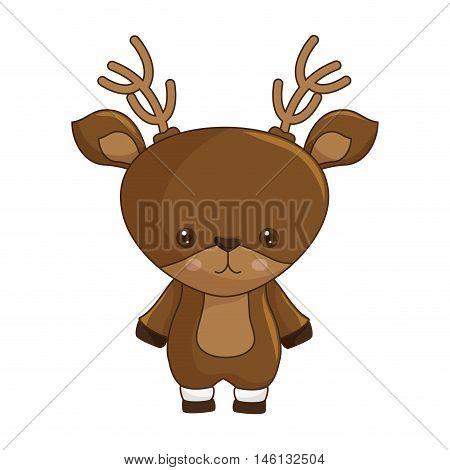 kawaii cartoon cute brown deer with horns. vector illustration