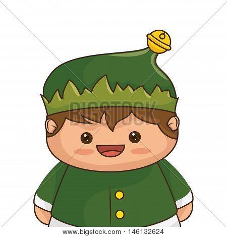 Christmas elf kawaii cartoon character santa helper smiling. vector illustration