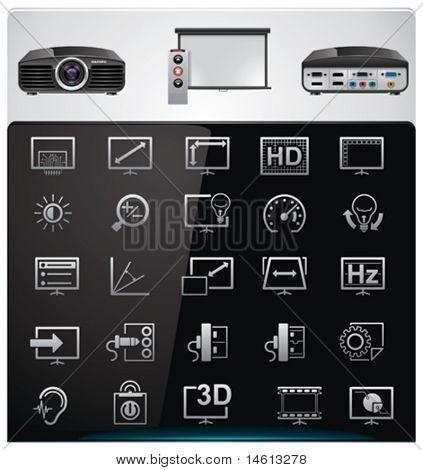 Conjunto de iconos de Vector video proyector características y especificaciones