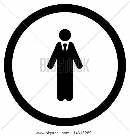 Clerk glyph rounded icon. Image style is a flat icon symbol inside a circle, black color, white background.