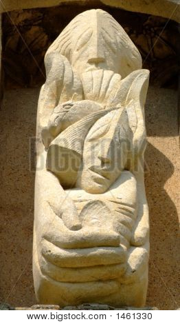 Ancient Church Stone Sculpture Of God Holding Jesus