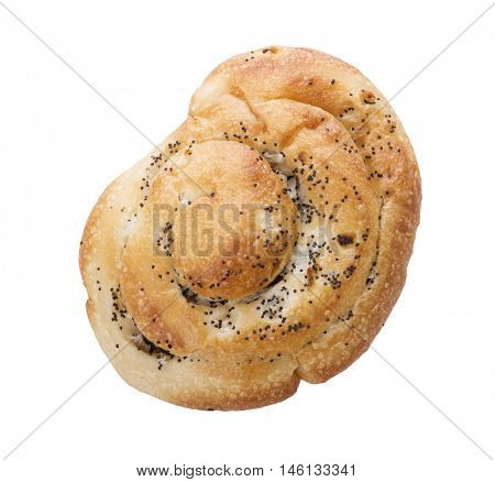 Onion roll with poppy seeds isolated on white background