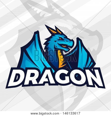 Dragon logo template. Sport mascot design. Football or baseball illustration. College league insignia, Asian beast sign, School team vector