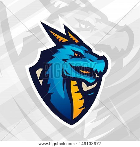Dragon on shield sport mascot template. Football or baseball patch design. College league insignia, School team vector.