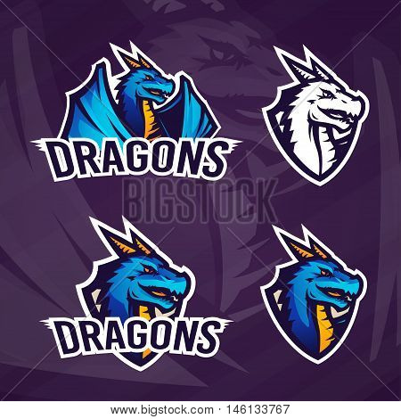 Creative dragon logo template. Sport mascot design. College league insignia, Asian beast sign, School team vector.