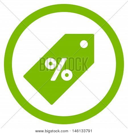 Discount Tag glyph rounded icon. Image style is a flat icon symbol inside a circle, eco green color, white background.