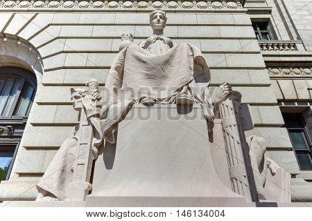 Providence, Rhode Island - August 21, 2016: Monument in front of the Federal Building is a historic post office courthouse and custom house on Kennedy Plaza in downtown Providence Rhode Island.