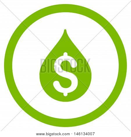 Money Drop glyph rounded icon. Image style is a flat icon symbol inside a circle, eco green color, white background.