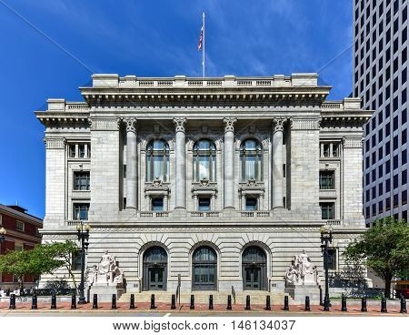 Providence, Rhode Island - August 21, 2016: The Federal Building is a historic post office courthouse and custom house on Kennedy Plaza in downtown Providence Rhode Island.
