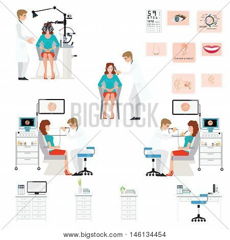 Doctor examining Patient with endoscope and Phoropter isolated on white ophthalmic testing device machine Ear nose and throat clinicoffice interior medical health care conceptual vector illustration.