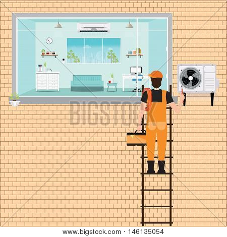 Worker Man climbing ladder to repair air conditioner system on brick wall Air conditioning services flat design vector illustration.